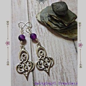 Boho Celtic Scroll & Banded Purple Agate Earrings